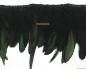 1 Yard Black Green Feather Trim (YM161)