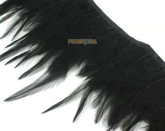 1 Yard Black Feather Trim (YM152)