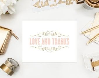 Instant Download - Old Fashioned Thank You Folded Note Card