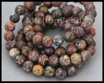 "16"" Strand - 8mm LEOPARDSKIN Jasper Round Gemstone Bead - Genuine Natural C Grade Semi precious Stone - Instant Shipping - USA - 6807"