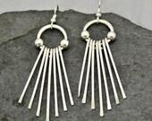Sterling silver fringe earrings.  Silver dangle earrings.  hand forged.