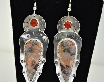 "crazy lace agate and carnelian earrings. handmade sterling silver artisan ""star shine"""