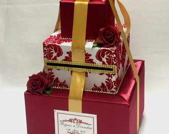 Red Damask Card Box Gold accents-Red Roses