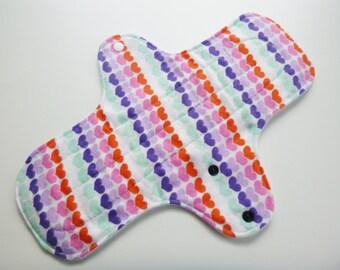 12 inch cloth pad - cloth menstrual pad - mama pad - plus size cloth pad - heavy flow pad - rainbow hearts flannel top - ready to ship