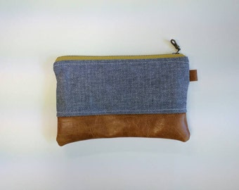 Chambray coin purse with mustard zip and floral interior