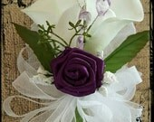 Purple plum creamy white calla lily WRIST Corsage Wedding Bridal flowers mother grandmother