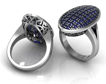 Sapphire Emerald Ruby Oval Ring in 14k White Gold | made to order for you within 5-7 business days