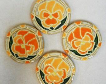 Mosaic Tile Coasters PANSY Handmade Ceramic Stoneware Orange and Yellow Set of 4