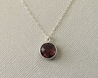 Amethyst Necklace in Sterling Silver -Silver Amethyst Necklace