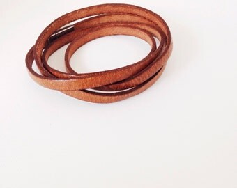 Skinny Quadruple Leather Wrap Bracelet. Vintage Brown Leather.  Silver Magnetic Clasp
