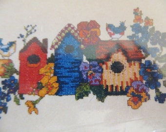 Birdhouses Counted Cross Stitch Waste Canvas Kit, Wearable Design, Candamar Designs 51033, Birds for Clothes Crafts