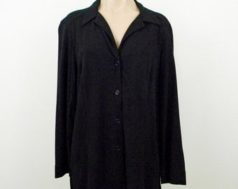 Black Travel Knit Shirt-Jacket, Size Large