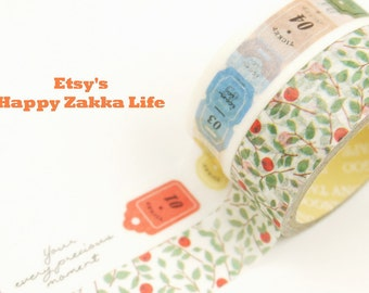 Japanese Washi Masking Tape Box Set - Label and Berry - 2 rolls - 5.5 Yards (each roll)