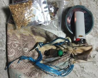 Hippy/Festival/Crystal/Yogi/420/Boho Crystal, Oil, Sage, Palo Santo, 420 bag, sack, pouch earthy colors chrysocolla/fluorite/garnet energy