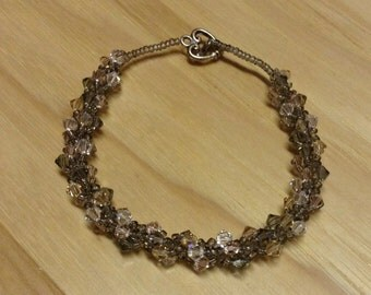 Bead Woven Swarovski Crystal Bracelet Peach, Pink, Grey and Clear