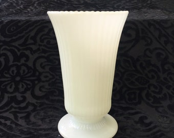 Vintage Milk Glass Tall Vase Ribbed and Fluted with Scalloped Edge by E. O. Brody for Wedding Decor Centerpiece
