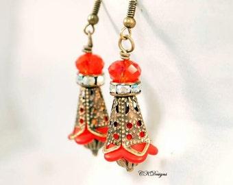 SALE Victorian Style Lucite Earrings, Red Dangle Pierced or Clip-on Earrings, Boho Earrings, Victorian Earrings, OOAK Handmade Earrings.