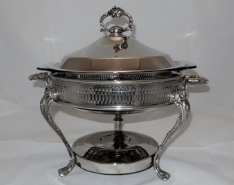 Vintage Silver Plate 3 Piece Chafing Dish