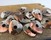 4 Mykonos Harlequin Raku Medium Nugget Beads, 22x5mm Ceramic Bead with Copper Oxide finish, Made in Greece, M22HAK8