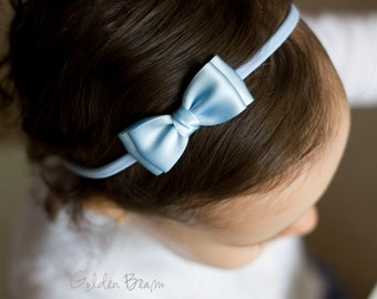 Pastel Blue  Olivia Baby Bow Headband - Flower Girl Headband - Pastel Blue Olivia Satin Bow Handmade Headband - Baby to Adult Headband