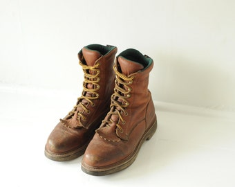 Vintage Georgia Boot Brown Leather Lace Ups, Mens 9 - 9 1/2