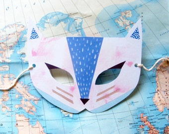 Kitty Cat Paper Mask, Woodland Forest Party or Wedding Favor