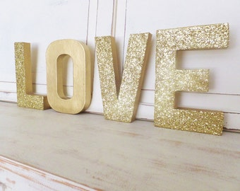 """LOVE 8"""" LETTERS ~ Photo Prop ~ Engagement ~ Shower, Wedding ~ Valentines's Day ~ Gold Glitter ~ 4 Letters"""