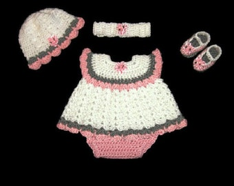 Baby Girl Dress Set Pink Layette Set Crochet Baby Dress Knit Baby Dress Crochet Infant Dress Newborn Dress Baby Shower Gift Baby Clothing