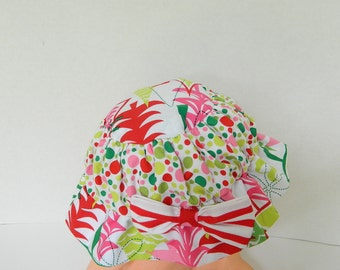 Baby Christmas Hat - Red and Green Polka Dots - Little Girls Holiday Hat - Girls' Accessory - Red Pink Green - Holiday Toddler Hat - Baby