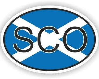 Scotland SCO Country Code Oval Sticker with Flag for Bumper Laptop Book Fridge Motorcycle Helmet ToolBox Door Hard Hat Tool Box Locker Truck