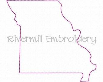 Raggy Applique State of Missouri Machine Embroidery Design - 4 Sizes