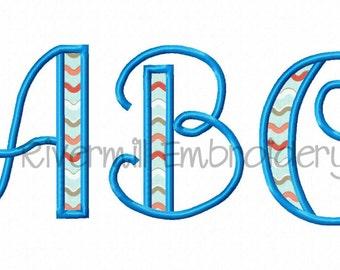 Hailey Applique Machine Embroidery Font Monogram Alphabet - 4 Sizes