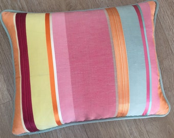 BRIGHT MULTI STRIPES of Pink Raspberry Yellow Orange Aqua piped edge accent lumber rectangle cushion cover. Bella stripe fabric by Harlequin