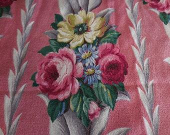 "Vintage PINK GLEN COURT Barkcloth - Deep Pink with Cabbage Roses Glencourt Barkcloth Drapery Fabric Piece - 30"" X 35"""