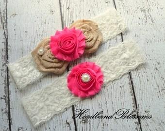 HOT PINK Bridal Garter Set - Keepsake & Toss Garters - Burlap Chiffon Flower Pearl Ivory Lace Garters - Rustic Wedding