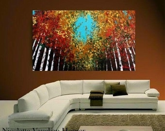 "SALE Oil Landscape  Abstract Original Modern 48"" palette knife Birch Trees  impasto oil painting by Nicolette Vaughan Horner"