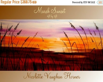 """XL Abstract Original Seascape Florida Marsh Sunset   painting by Nicolette Vaughan Horner ready to hang 48x24"""""""
