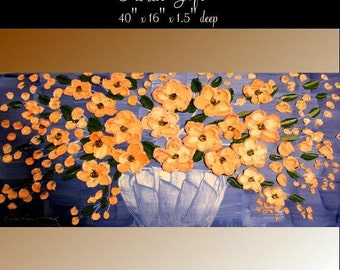 """Original  40"""" abstract oil/mixd media painting on deep  gallery  canvas Flower Basket  by Nicolette Vaughan Horner"""