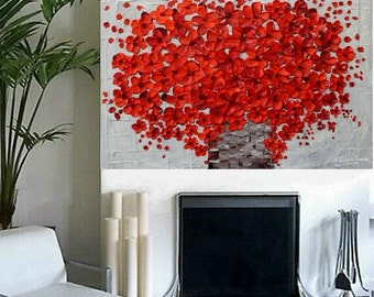 Abstract ORIGINAL 3ft x 2ft gallery wrap canvas-Contemporary impasto abstract  red floral blossom  painting by Nicolette Vaughan Horner