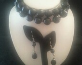 NOW ON SALE Pretty chunky black lucite Necklace & dangly Earrings 1960's Collectible Vintage Retro Mid Century Jewelry