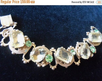 NOW ON SALE Vintage Rhinestone Bracelet Yellow Green Stones 1950's Mad Men Mod Hollywood Regency Chunky Collectible Rockabilly Jewelry