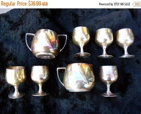 Now On Sale Vintage Brass Shot Glass Set of Eight Creamer Suger Plus 1960's Home Decor Housewares Mad Men Mod Mid Century Tableware Dinnerwa