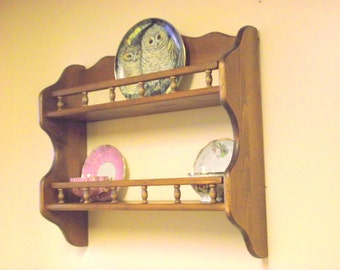 Wood Tea Cup TeaCup & Saucer Plate Display Shelf Rack with Galley Rails Plate Holder