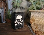 Panzer skull heavy duty small custom leather wallet/card holder