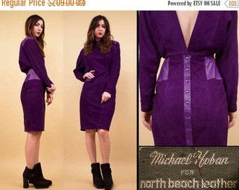 80s Vtg North Beach Leather Purple Suede FUTURISTIC Batwing Mini Dress / Michael Hoban Deep V Avant Garde Nouveau / Small