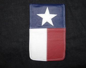 Texas Lonestar hand made leather golf scorecard and yardage book holder / cover