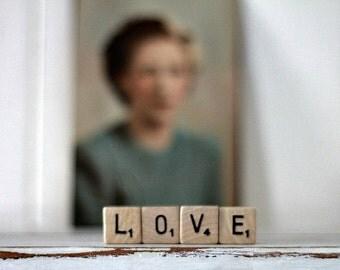 vintage wood block word LOVE