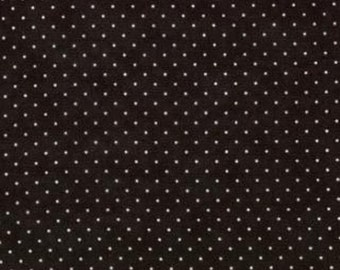 Essential Dots Moda by the half yard cotton quilt fabric WHITE dots on BLACK 8654 41