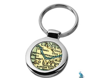 Map Keychain Florence Alabama Key Ring Fob