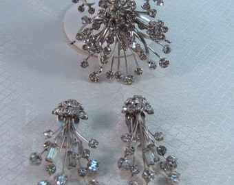 c1940's Rhinstone Bow Brooch with Matching Clip Earrings